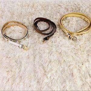 Accessories - Lot 3 pr belts Skinny Gold Silver Brown M L
